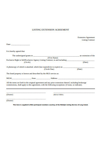 Listing Extension Agreement