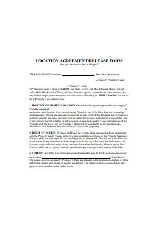 Location Agreement Release Form Example