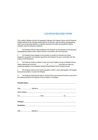 Location Agreement Release Form Sample