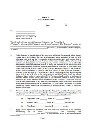 Location Agreement Sample