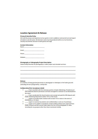 Location Agreement and Release Form