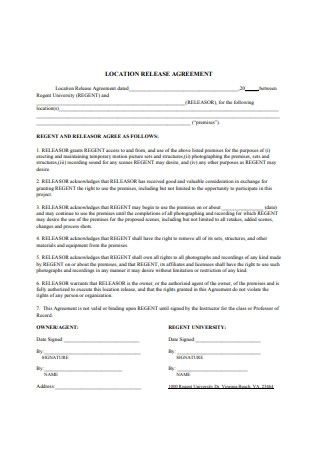 Location Release Agreement Form