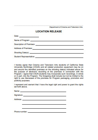 Location Release Form Example
