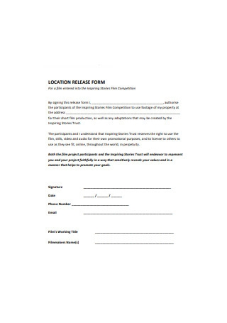 Location Release Form Film