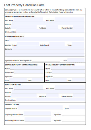 Lost Property Collection Form