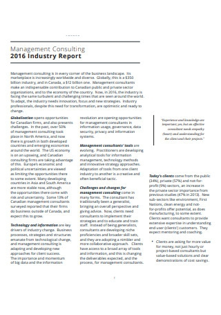 Management Consulting Industry Report