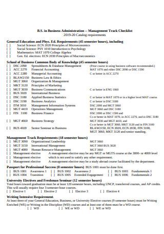 Management Track Checklist