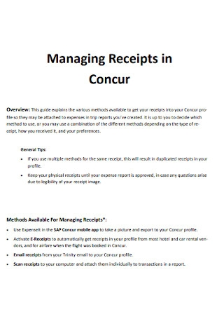 Managing Receipt in Concur