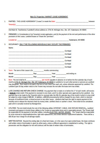 Market Lease Agreement