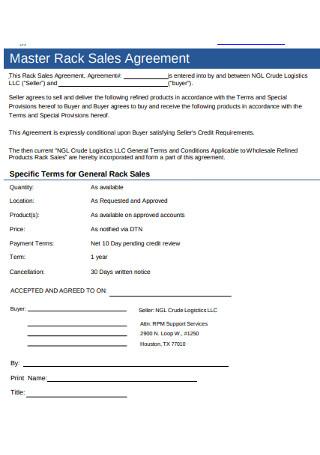 Master Rack Sales Agreement