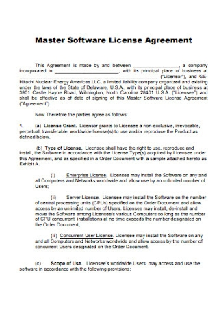 Master Software License Agreement