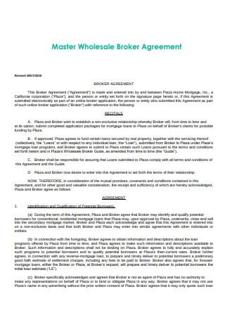 Master Wholesale Broker Agreement