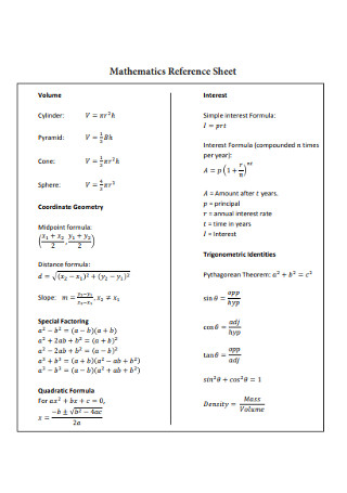 Mathematics Reference Sheet