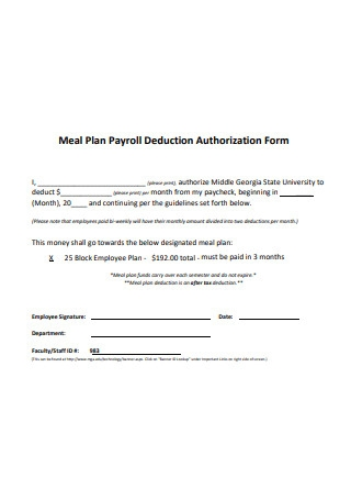 Meal Plan Payroll Deduction Authorization Form