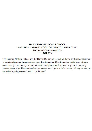 Medical School Anti discrimination Policy