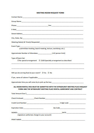 Meeting Room Rental Agreement and Contract
