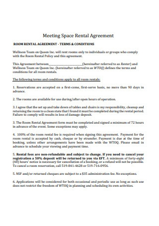 Meeting Space Rental Agreement