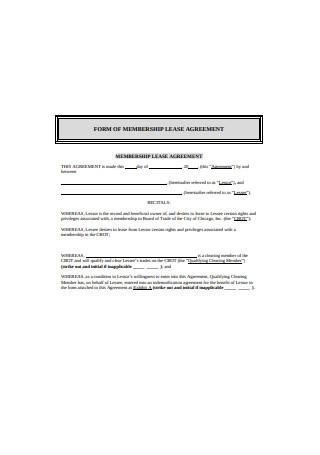 Membership Lease Agreement