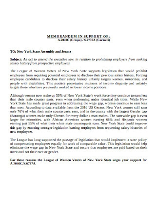 Memo in Support Salary History