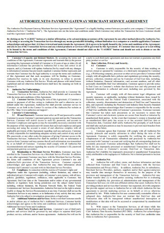 Merchant Service Agreement