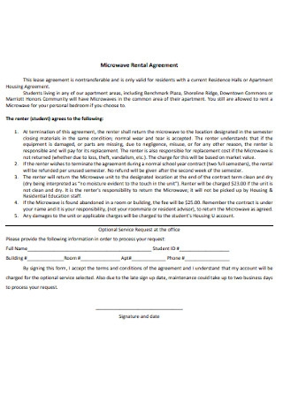 Microwave Rental Agreement