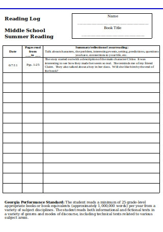Middle School Reading Log