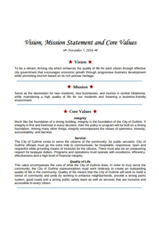 Mission Statement and Core Values
