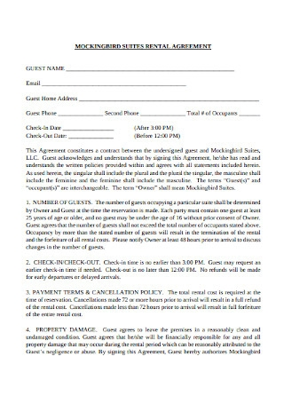 Mockingbird Suites Rental Agreement