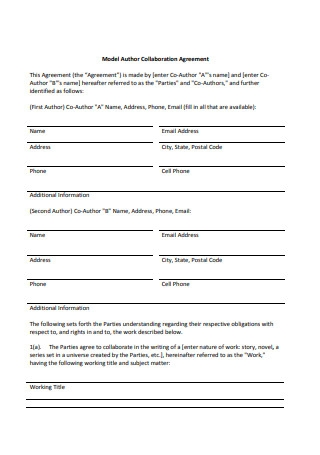 Model Author Collaboration Agreement