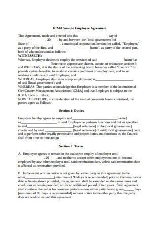 Model Employee Agreement Sample