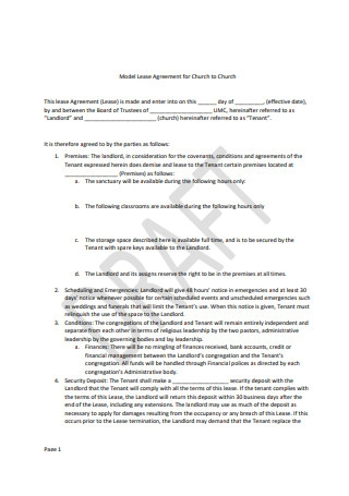 Model Lease Agreement Example