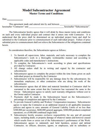 Model Subcontractor Agreement
