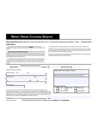 Money Order Customer Request Form