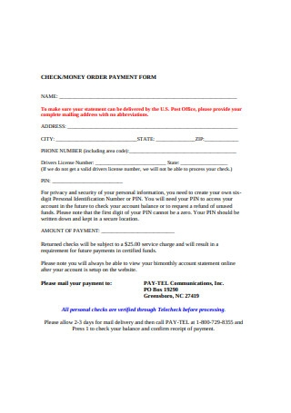 Money Order Payment Form