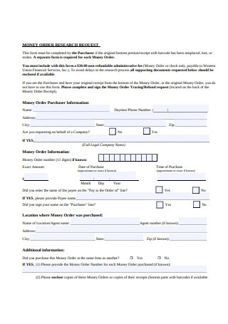 Money Order Research Request Form