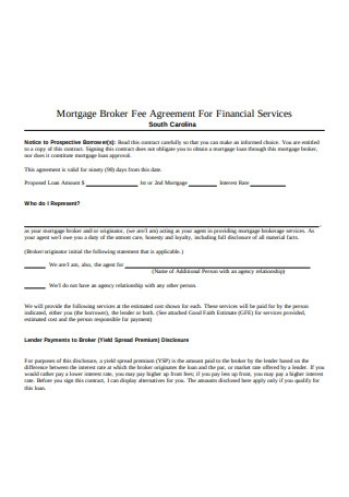 Mortgage Broker Fee Agreement For Financial Services
