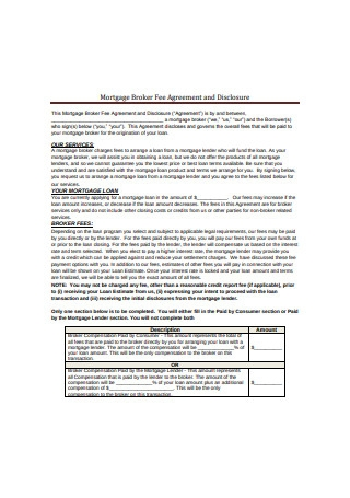 Mortgage Broker Fee Agreement