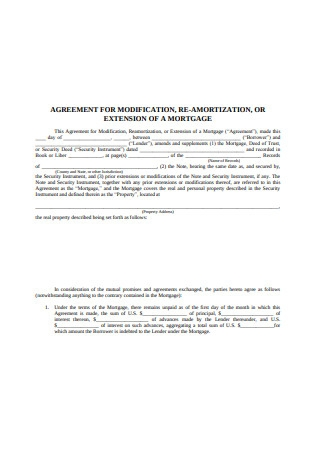 Mortgage Extension Agreement