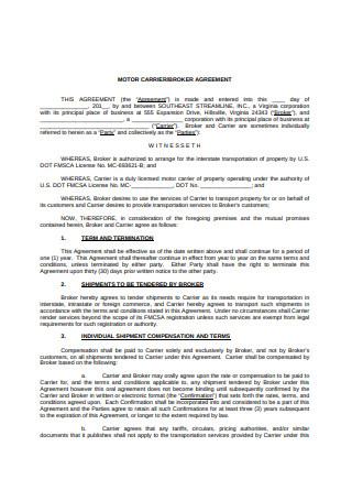 Motor Carrier Broker Agreement
