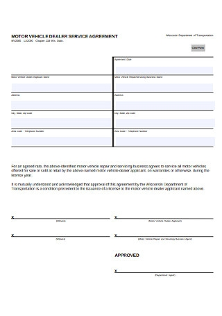 Motor Vehicle Dealer Service Agreement