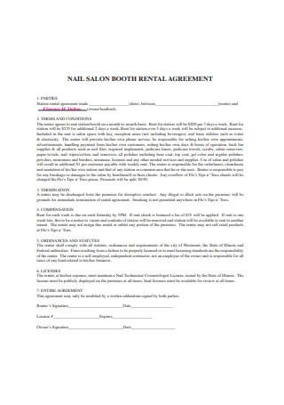 Nail Salon Booth Rental Agreement