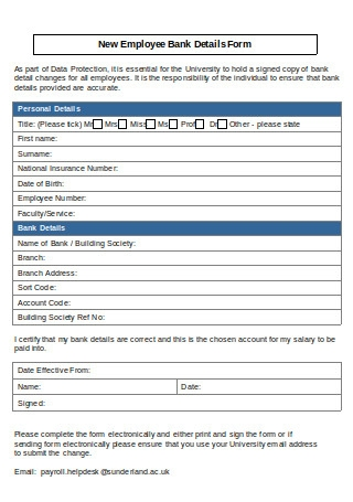 New Employee Bank Details Form