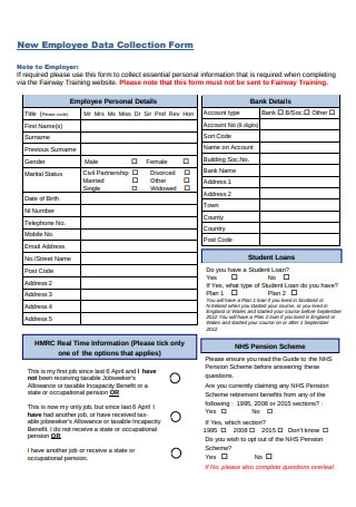 New Employee Data Collection Form