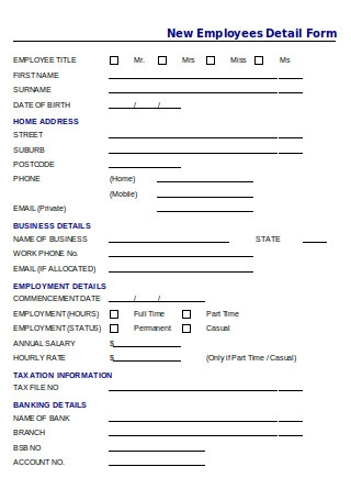 New Employee Details Form