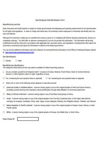 New Employee Self Identification Form