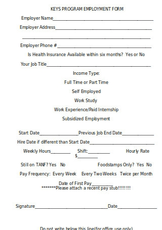 New Employment Information Form