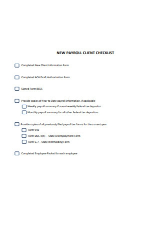New Payroll Client Checklist Format
