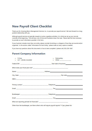 New Payroll Client Checklist