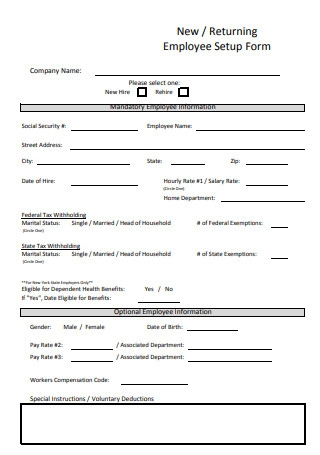 New Returning Employee Setup Form