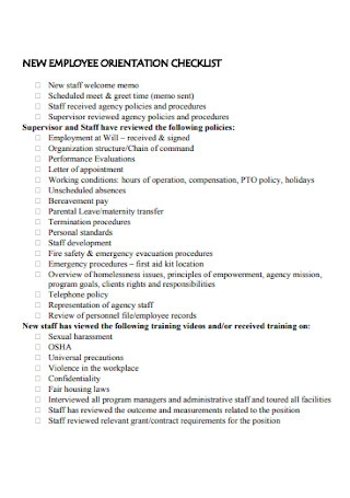 New Staff Orientation Checklist
